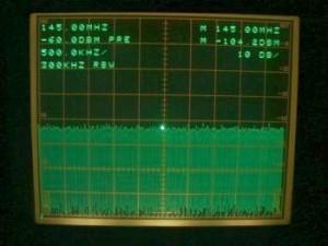 Ecran analyseur de spectre - bruit récepteur